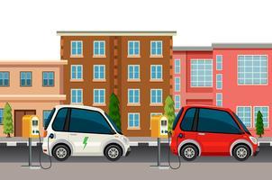 Electric car charging scene