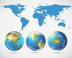 Weltkarte und verschiedene Teile der Welt