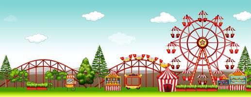 Parque de diversões no tempo do dia