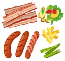 A Set of Healthy Food White Background