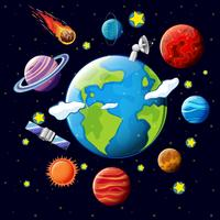 Planets and satellites around the earth vector