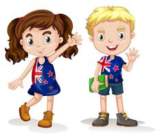 British boy and girl greeting