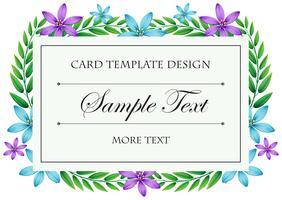 Card template with blue and purple flowers frame