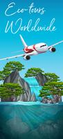 Eco tours worldwide plane scene vector
