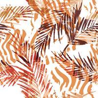 Seamless exotiskt mönster med palmblad och djurmönster.