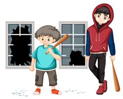 Trouble les jeunes garçons ont frappé la fenêtre