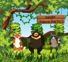 Wild animals dance in jungle vector