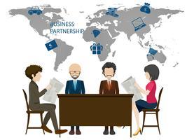 Infografía con mapamundi y gente de negocios.