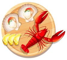 A seafood plate with lobster and scallop