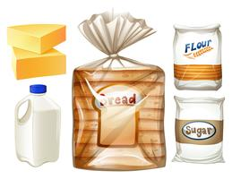 Food set with bread and milk vector