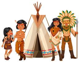 Native american indians standing by the teepee