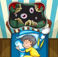Pojke i sängen med mardröm