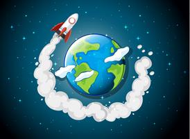 rocket ship flying around earth vector