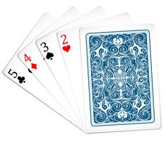 Cinco cartas de poker juntas