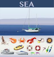 Escena del océano con barcos y animales marinos.