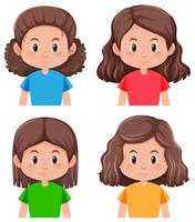 Set of brunette hair character