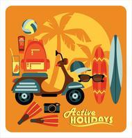 Ilustración vectorial de vacaciones de verano activo.