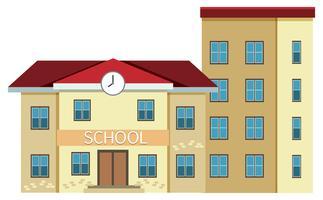 Un edificio de escuela sobre fondo blanco