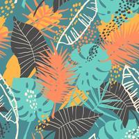 Sin fisuras patrón exótico con plantas tropicales.