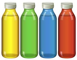 Four bottles in different colors vector