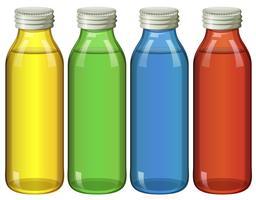 Cuatro botellas en diferentes colores.
