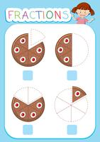 Math fractions worksheet cake theme