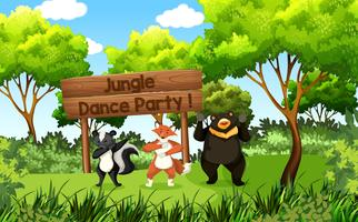 cute animals jungle dance party