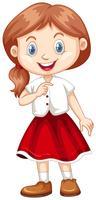 Gata da camisa branca e saia vermelha