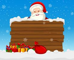 Large wooden sign with santa