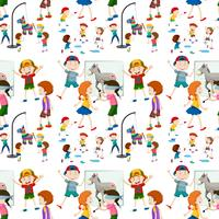 Children activity seamless pattern