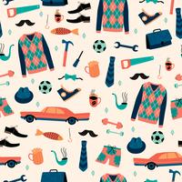 Vector seamless pattern with mans things. Happy Fathers Day concept.