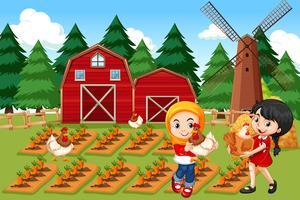 Los agricultores en la escena de la granja
