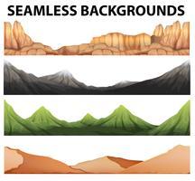 Naadloze achtergronden met verschillende soorten bergen