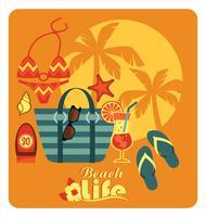 Vektorillustration von traditionellen Strandfeiertagen.