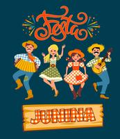 Latin American holiday, the June party of Brazil. Vector illustration