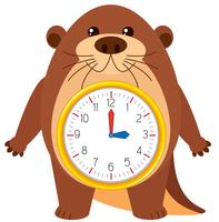 Otter clock on white background