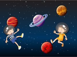 crianças flutuando no espaço