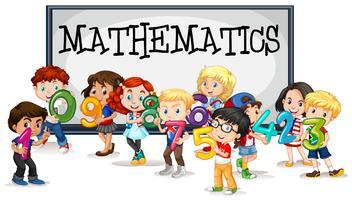 Niños con números y signo matemático.