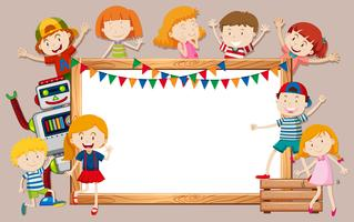 Happy kids and whiteboard template