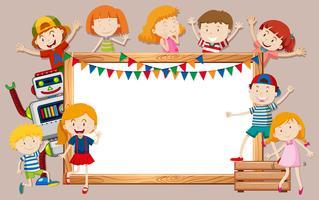 Gelukkige kinderen en whiteboard-sjabloon
