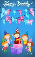 Feliz aniversário, crianças, cartão