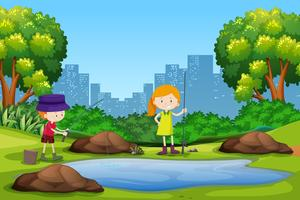 Children fishing in the park