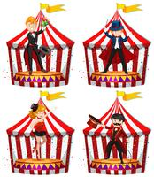 Set of circus entertainers