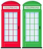 Telephone booths in red and green vector