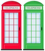 Telefooncellen in rood en groen