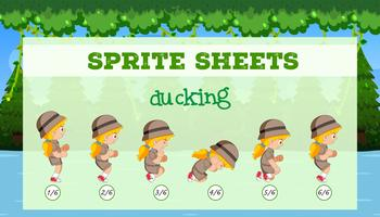 sprite sheets girl ducking