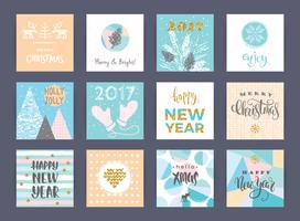 Set of artistic creative Merry Christmas and New Year cards.