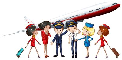 Airline crews and jet plane