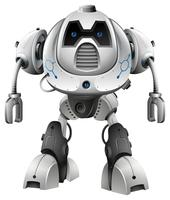 Robot with blue eyes on white background