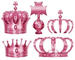 Different design of crowns in pink color